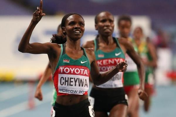 Milcah Chemos in the womens 3000m SC at the IAAF World Athletics Championships Moscow 2013 (Getty Images)