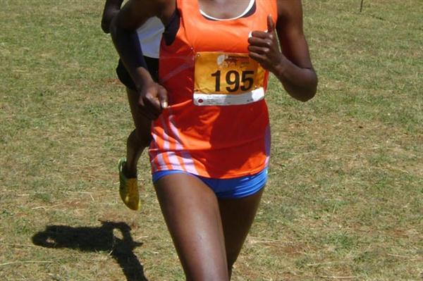 World Cross silver medallist Mercy Cherono (195) leads Purity Cherotich in the 6km junior women race during the 19th edition of the Discovery Cross country held in Eldoret, Kenya. Cherotich retained the title. (David Macharia)