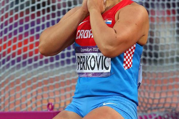 Sandra Perkovic of Croatia reacts as she wins gold in the Women's Discus Throw Final on Day 8 of the London 2012 Olympic Games at Olympic Stadium on August 4, 2012 (Getty Images)