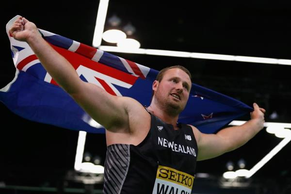 Tom Walsh after winning the shot put at the IAAF World Indoor Championships Portland 2016 (Getty Images)