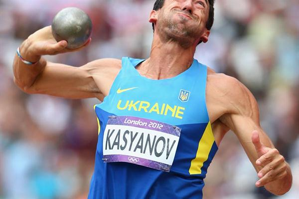 Oleksiy Kasyanov of Ukraine competes in the Men's Decathlon Shot Put on Day 12 of the London 2012 Olympic Games at Olympic Stadium on August 8, 2012  (Getty Images)