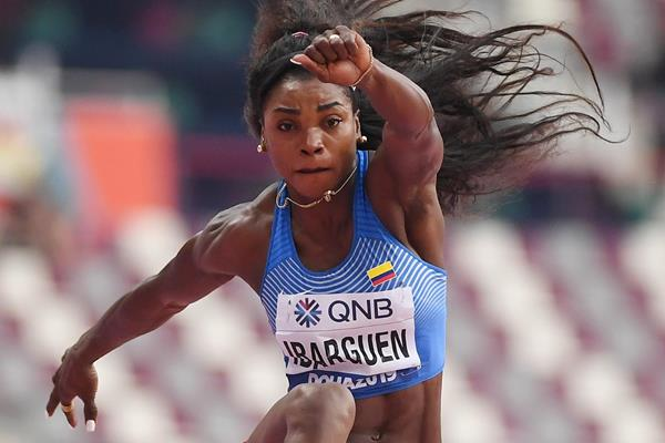 Caterine Ibarguen in triple jump qualifying at the IAAF World Championships Doha 2019 (Getty Images)