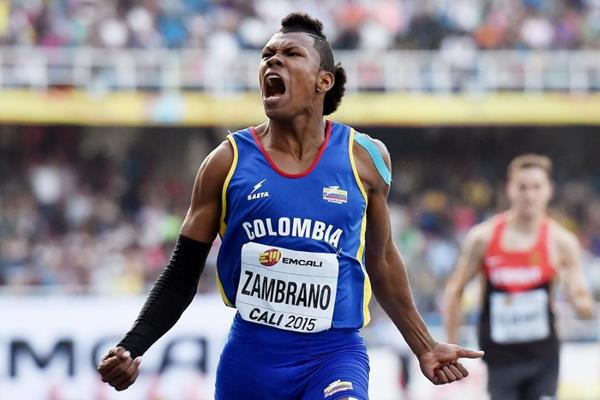 Colombia's Anthony Jose Zambrano winning his boys 400m semi-final at the IAAF World Youth Championships, Cali 2015 (Getty Images)