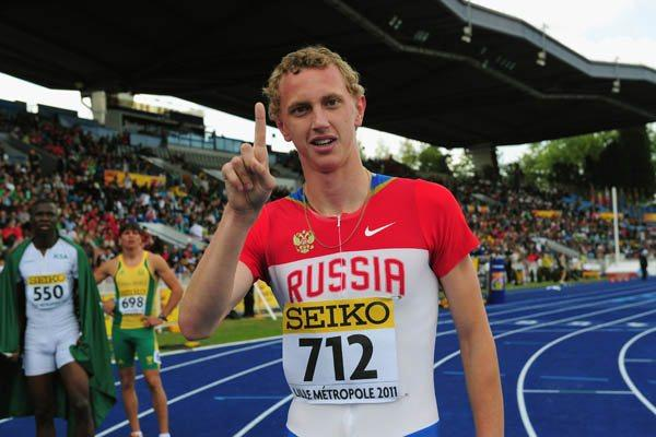 Egor Kuznetsov of Russia celebrates winning the Boys' 400m Hurdles World Youth title (Getty Images)