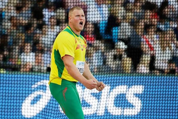 Andrius Gudzius della Lituania, il disco lancia il vincitore ai Campionati del Mondo IAAF di Londra 2017 (Getty Images)