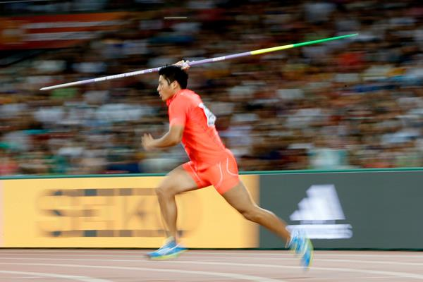 Ryohei Arai in javelin qualifying at the IAAF World Championships, Beijing 2015 (Getty Images)