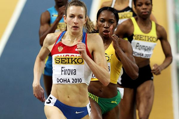 Russian Tatyana Firova leads the women's 400m semi-final in Doha (Getty Images)