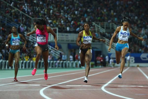 Allyson Felix edges out Sanya Richards in the women's 200m, both clocking 22.29 (Getty Images)