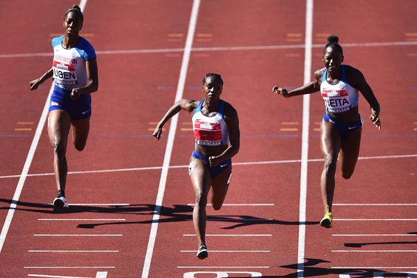 Lorraine Ugen, Dina Asher-Smith and Daryll Neita in the 100m at the British Championships in Birmingham (Getty Images)