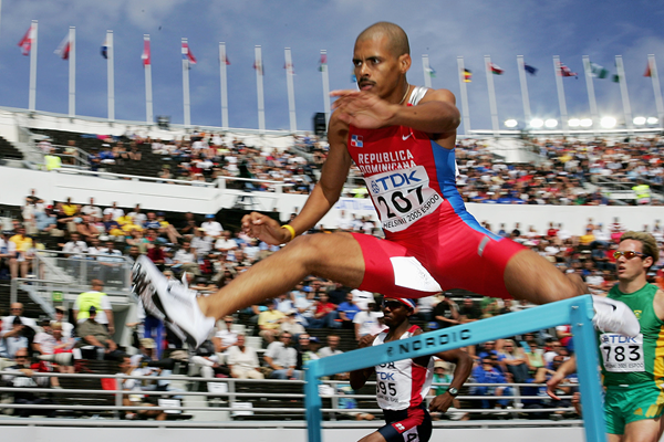 Felix Sanchez in action in the heats of the men's 400m hurdles (Getty Images)