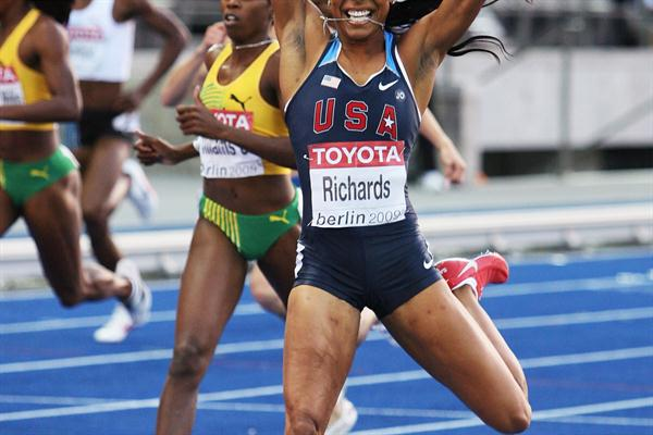 Sanya Richards celebrates as she crosses the line to win her first 400m global title at the 12th IAAF World Championships in Athletics (Getty Images)