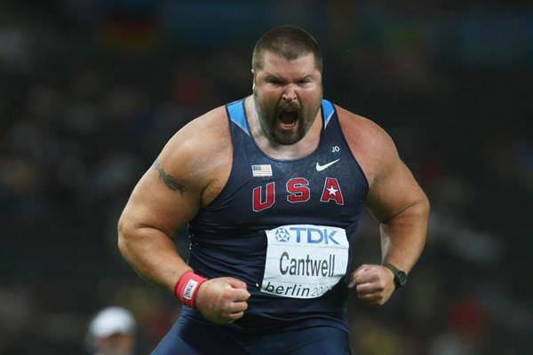 "Christian Cantwell roars in elation on securing the title of ""World Outdoor Champion"" (Getty Images)"