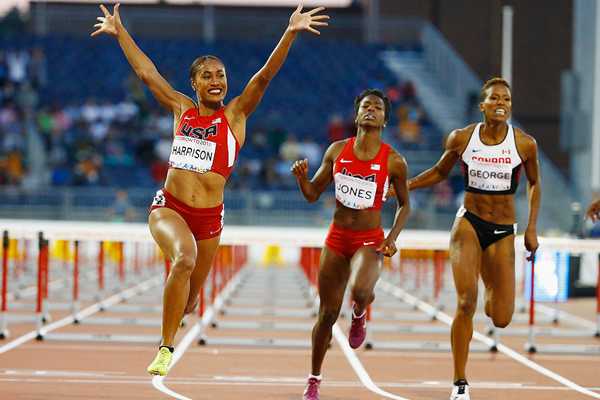 Queen Harrison wins the 100m hurdles at the Pan American Games (Getty Images)