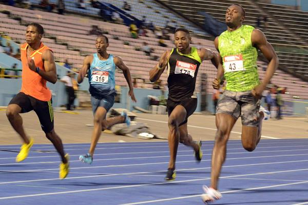 Usain Bolt at the 2013 Jamaican Championships (Anthony Foster)