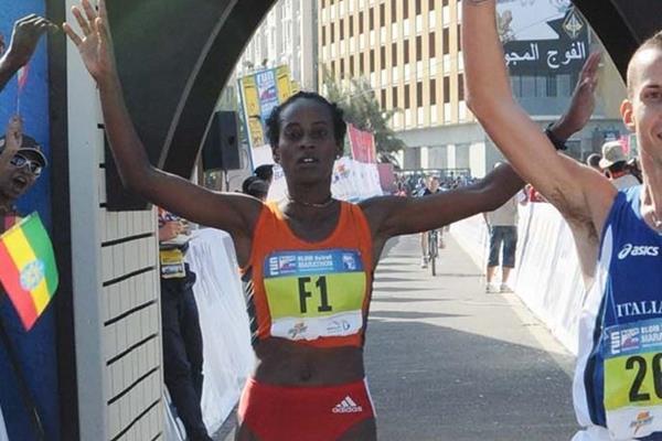 Etaferehu Tarekegn takes the victory in Beirut (Beirut Marathon Association)