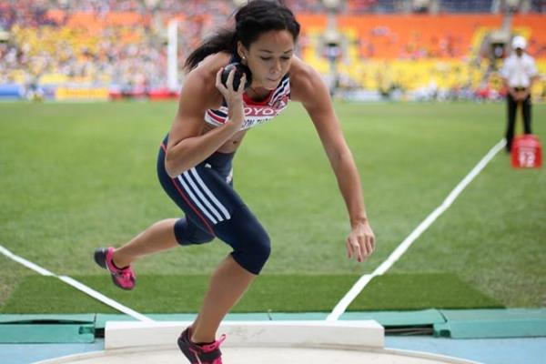 Katarina Johnson-Thompson in the heptathlon shot put at the IAAF World Championships Moscow 2013 (Getty Images)