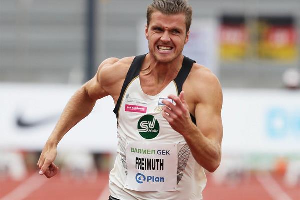 Rico Freimuth in action in the decathlon 100m in Ratingen (Gladys Chai von der Laage)