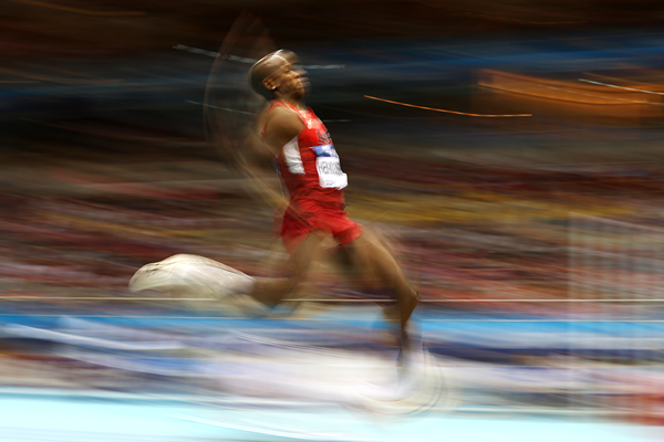 Jeffery Henderson in the long jump at the IAAF World Indoor Championships (AFP / Getty Images)