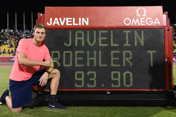Thomas Rohler after winning the javelin at the IAAF Diamond League meeting in Doha (Jiro Mochizuki)