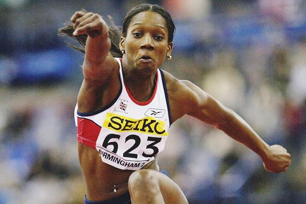 Ashia Hansen in action in the triple jump at the 2003 World Indoor Championships in Birmingham (Getty Images)