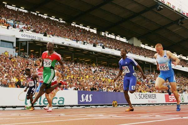 Francis Obikwelu winning the European 100m title in Gothenburg (Getty Images)