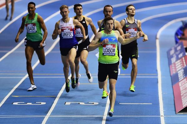 Casimir Loxsom winning the 800m at the Muller Indoor Grand Prix in Birmingham (Getty Images)