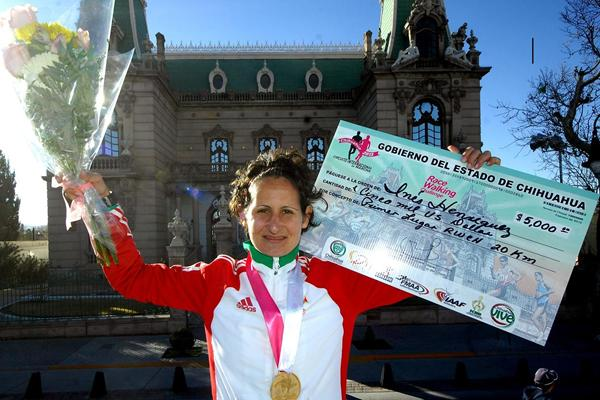 Portugal's Ines Henriques after winning at the 2013 IAAF Race Walking Challenge meeting in Chihuahua, Mexico (organisers)