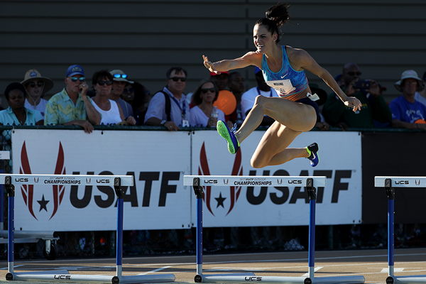 Georganne Moline in the 400m hurdles at the 2017 US Championships (Getty Images)