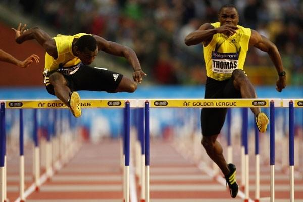 World Champion Ryan Brathwaite defeats Dwight Thomas in the 110m Hurdles (Getty Images)