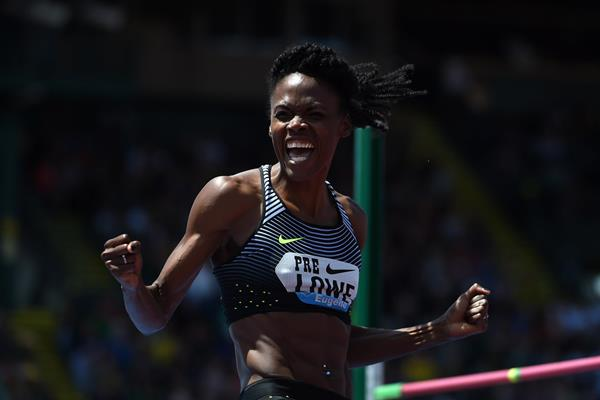 Chaunte Lowe at the 2016 IAAF Diamond League meeting in Eugene (Kirby Lee)