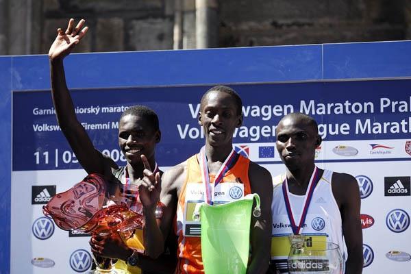 Prague Marathon podium trio: Eliah Sang (l), Kenneth Mungara (c) and Simon Njoroge Kariuki (Sean Wallace Jones)