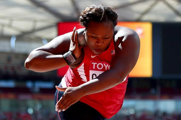 USA's Michelle Carter in shot put qualifying the IAAF World Championships, Beijing 2015 (Getty Images)