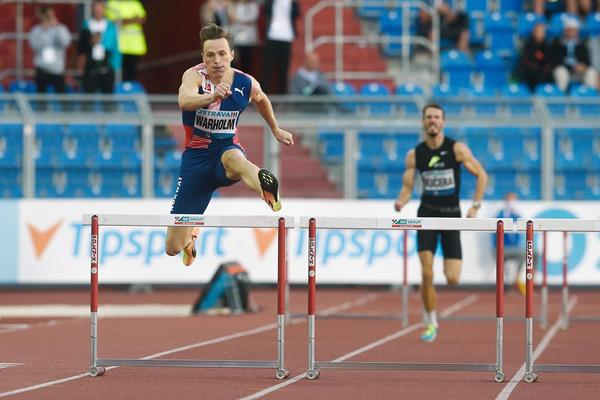 Karsten Warholm on his way to winning the 400m hurdles in Ostrava (AFP / Getty Images)