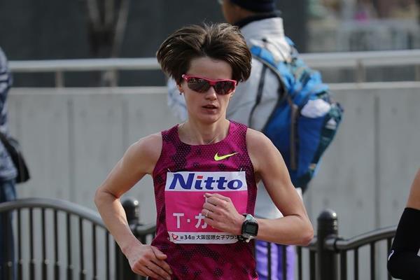 Ukraine's Tetiana Gamera-Shmyrko in the 2015 Osaka Women's Marathon (Takeo Yamaguchi - Agence SHOT)
