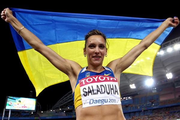 Olha Saladuha of Ukraine celebrates winning the Triple Jump World title in Daegu (Getty Images)