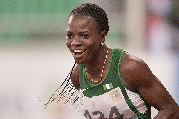 Tobi Amusan after winning the 100m hurdles (AFP / Getty Images)