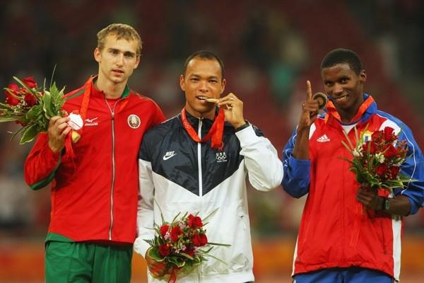 Decathlon medallists: Andrey Kravchenko, Bryan Clay and Leonel Suarez (Getty Images)