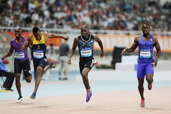 Alonso Edward wins the 200m at the IAAF Diamond League meeting in Shanghai (Errol Anderson)