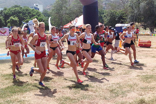 Allison Grace Morgan (20) at the start of the Pan American Cross Country Championships (Gerardo Cordero)
