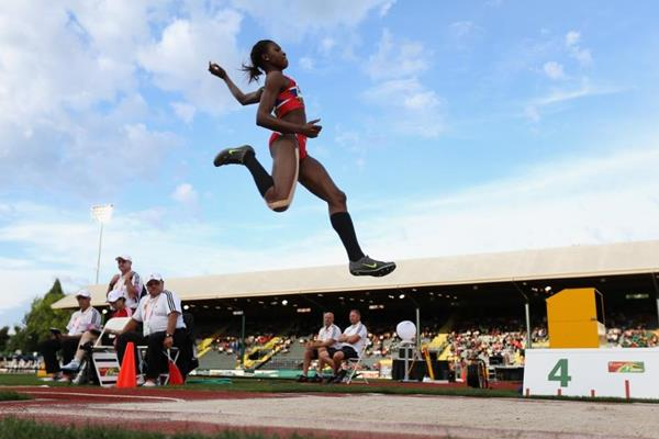 Nadia Akpana Assa of Norway in the long jump at the 2014 IAAF World Junior Championships in Eugene (Getty Images)