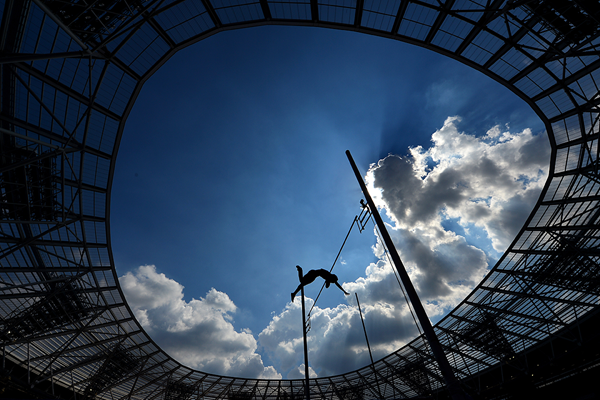 A pole vaulter in action at London's Olympic Stadium (Getty Images)