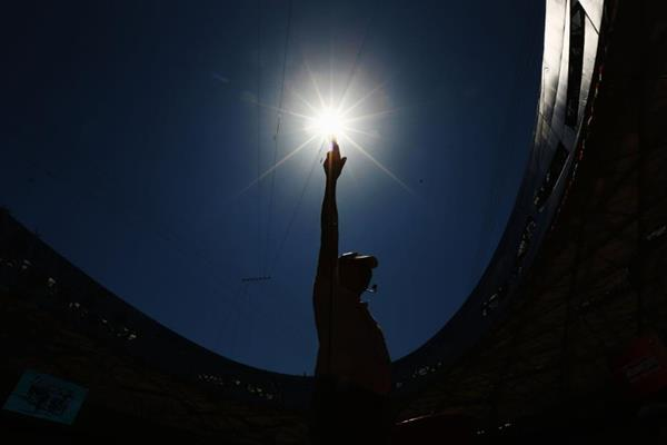 An official at the Bird's Nest Stadium ahead of the IAAF World Championships, Beijing 2015 (Getty Images)