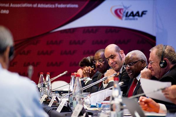 IAAF president Lamine Diack at the 2014 IAAF Council Meeting in Monaco (Jon Mulkeen / IAAF)
