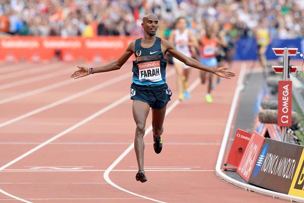 Mo Farah, victorious at the IAAF Diamond League meeting in London (Victah Sailer)