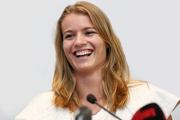 Dafne Schippers at the pre-competition press conference (Giancarlo Colombo)