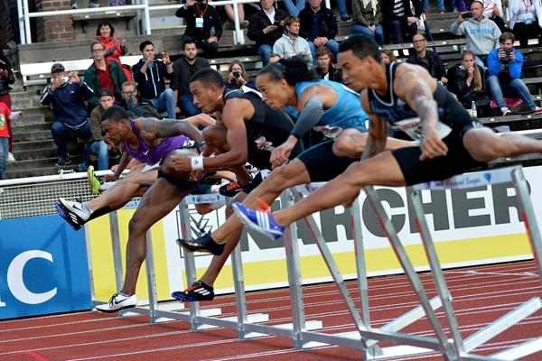 The men's 110m hurdles at the 2015 IAAF Diamond League meeting in Stockholm (Deca Text&Bild)