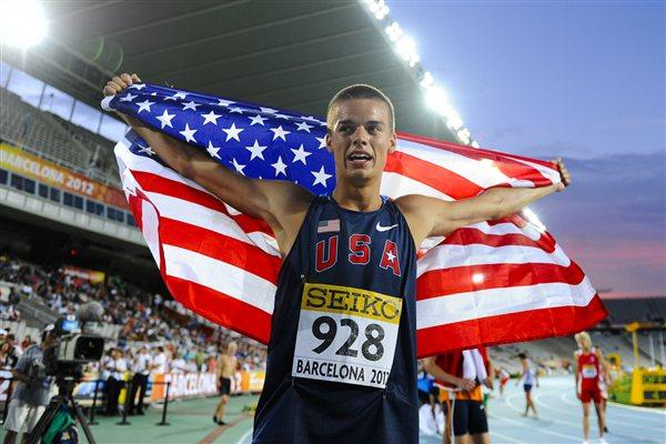 Gunnar Nixon of United States celebrates after winning the gold medal of the Decathlon event on the day two of the 14th IAAF World Junior Championships in Barcelona 2012 (Getty Images)