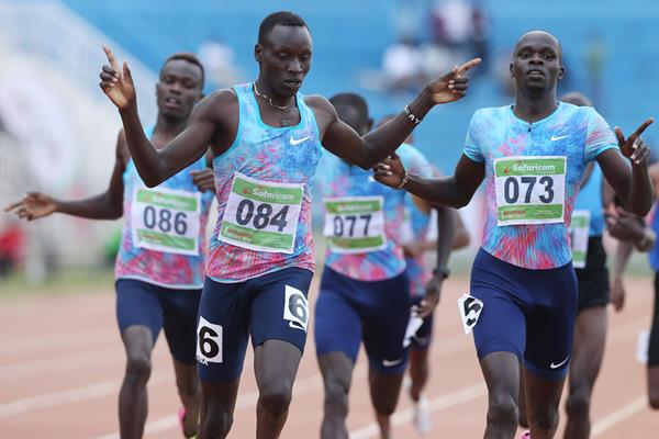 Kenyan trials 800m 1-2: winner Emmanuel Korir (c) and Kipyegon Bett (r) (Stafford Ondego)