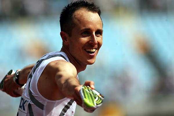 Viktor Rothlin of Switzerland enjoys his bronze medal finish in the marathon (Getty Images)