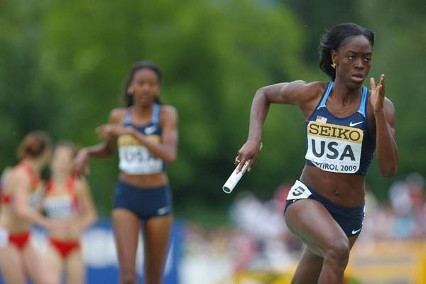 Ebony Eutsey of USA on her way to winning the gold medal in the Girls' Medley Relay final (Getty Images)